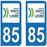 2 Autocollants Plaque Immatriculation 85 Pays-de-la-Loire Vendée - Arrondis