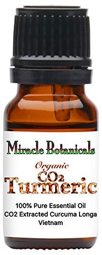 Miracle Botanicals Organic CO2 Extracted Turmeric Essential Oil - 100% Pure Curcuma Longa - Therapeutic Grade - 10ml