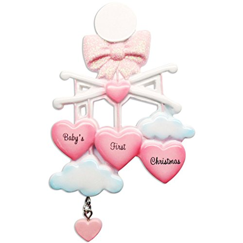 - Ornaments by Elves Personalized Baby's First Christmas Mobile Girl Ornament for Tree 2018 - Glitter Blue Cloud Stars Toy Sleep - New Mom Shower Nursery Granddaughter Favorite Crib -Free Customization