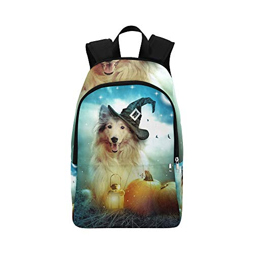 YKNFIS Collie Dog Witch Hat Decorated Halloween Casual Daypack Travel Bag College School Backpack for Mens and Women ()