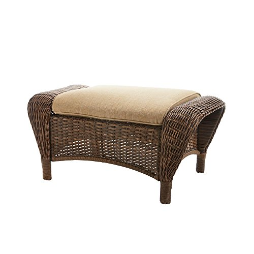 Hampton Bay Beacon Park Wicker Outdoor Ottoman with Toffee Cushions - Hampton Bay Wicker Furniture