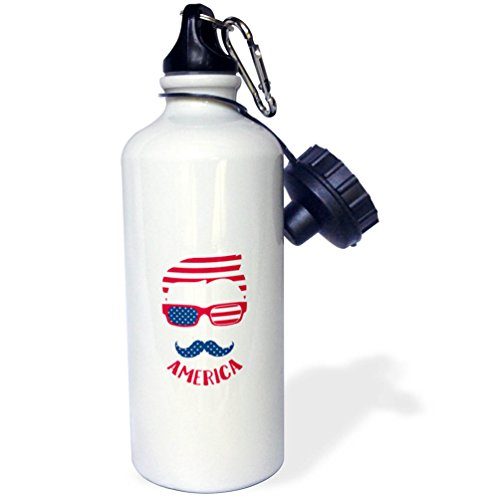 3dRose Andrea Haase Patriotic Art - Stars And Stripes Hipster Face Patriotic 4th July Celebration Art - 21 oz Sports Water Bottle (wb_282601_1) by 3dRose