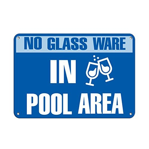 Personalized Metal Signs No Glassware in Pool Area for sale  Delivered anywhere in USA
