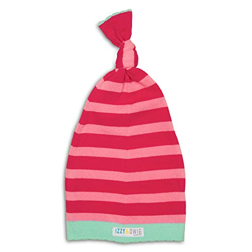 Izzy and Owie Striped Loose Baby Hat, 0-12 Month, Dark Pink/Light Pink/Mint -