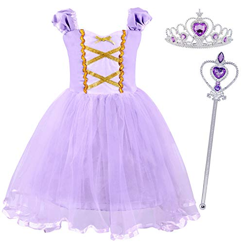 HenzWorld Rapunzel Costume Dress Girls Birthday Party Crown Wand Accessories Cosplay Outfit Set -