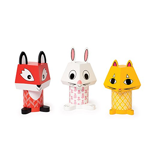 (Manhattan Toy Mix & Match Fox, Bunny, & Cat Magnetic Wooden Stacking Block Toy Set Baby Toy)