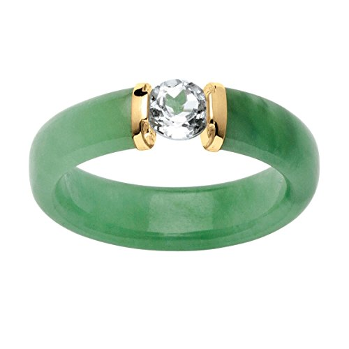 10K Yellow Gold Round Genuine Green Jade and Round Genuine White Topaz Ring (Jade Wedding)