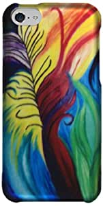 Zizo Rubberized Protective Cover Case for iPhone 5C - Retail Packaging - Peacock Feathers Design