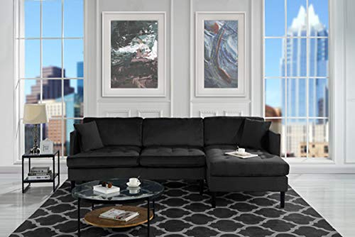 Mid Century Modern Tufted Velvet Sectional Sofa, L-Shape Couch ()