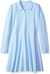 The Children's Place Big Girls' My Favorite Uniform Long Sleeve Polo Dress, Day Break, XXL(16)