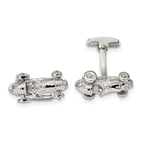 ICE CARATS 925 Sterling Silver Classic Race Car Moveable Wheels Cuff Links Mens Cufflinks Link Fine Jewelry Dad Mens Gift Set by ICE CARATS
