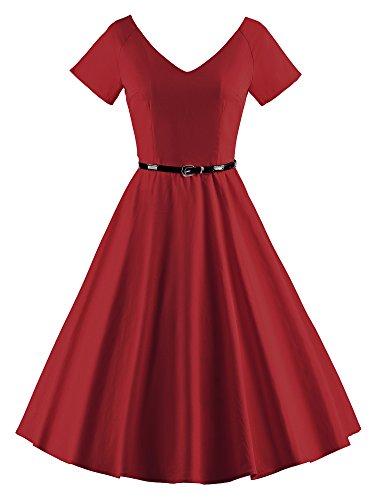 Ilover Femmes 1950 V-cou Cru Swing Rockabilly Robe De Soirée V026-winered