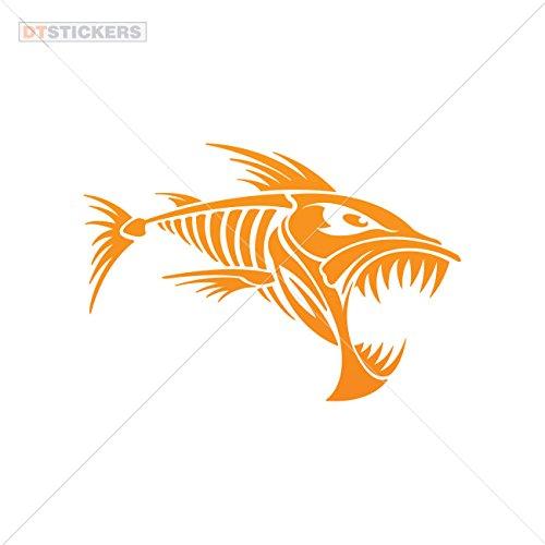 Decal Stickers Skeleton Fish Bones Truck Motorcycle Helmet Motorbike Boat (6 X 4,10 In. ) Orange