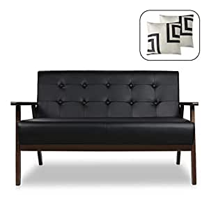 Sensational Mid Century Modern Solid Loveseat Sofa Upholstered Fabric Couch 2 Seat Wood Armchair Living Room Outdoor Lounge Chair 50W Pdpeps Interior Chair Design Pdpepsorg