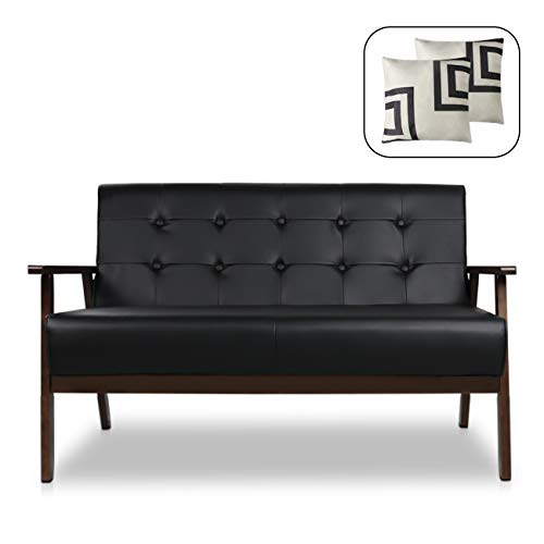 "Mid-Century Modern Solid Loveseat Sofa Bed Upholstered Fabric Couch 2-Seat Wood Armchair Living Room/Outdoor Lounge Chair,50""W (Leather)"