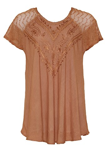 Embroidered Top w/Lace Sleeves - One size #215595 PUMPKIN