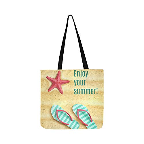 Summer Flip Flop On Beach Sand Canvas Tote Handbag Shoulder Bag Crossbody Bags Purses For Men And Women Shopping Tote