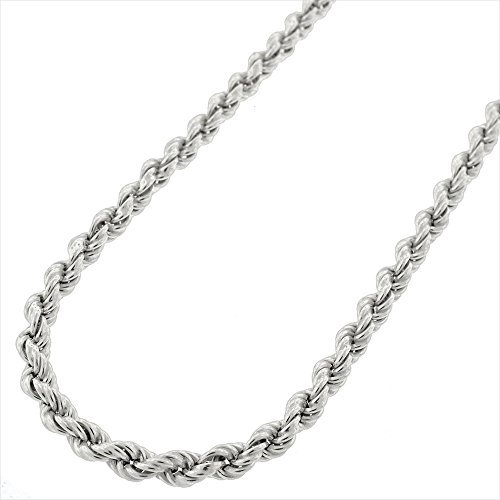 Silver Braided Necklace (Sterling Silver 3.5mm Hollow Rope Braided Link 925 Rhodium Twisted Chain Necklace 20