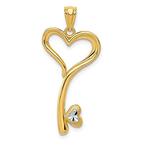 - Solid 14k Yellow and White Gold Two Tone Polished Heart Key Pendant (14.2mm x 29mm)