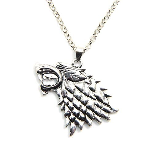 Inspired By Game of Thrones Song of Ice and Fire Vintage Stark Dire Wolf Pendant Necklace ()