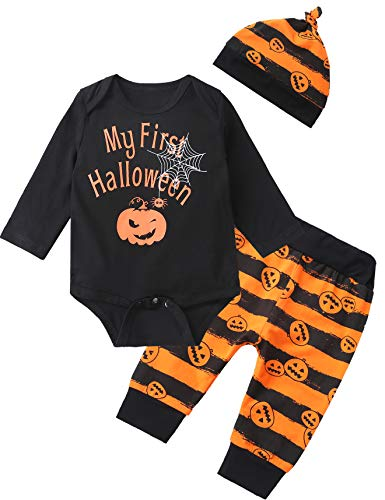 3PCS Outfit Set Baby Boys Girls My First Halloween Pumpkin Bodysuit Pants with Hat (0-3 ()