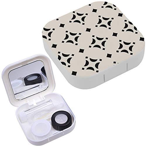 (Portable Contact Lens Case Box Travel Kit Mirror + Bottle + Tweezers Container Holder [ Ornamental Diamond)