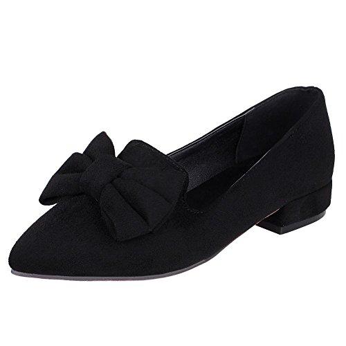 Charm Foot Womens Fashion Bows Scarpe A Punta Tacco Basso Pump Black