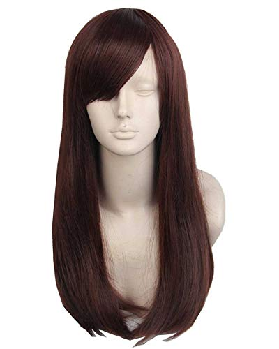 Topcosplay Womens Wig Dark Brown Cosplay Wigs Long Wavy Halloween Costume Wigs -