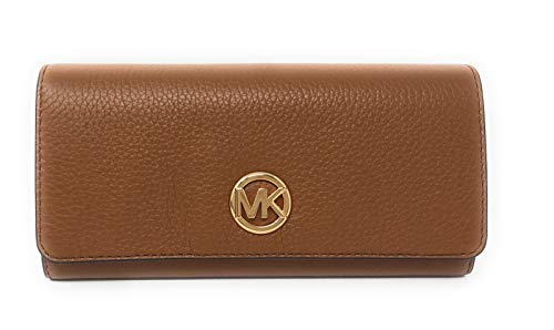 Michael Kors Fulton Flap Continental Carryall Clutch Wallet Purse in Luggage