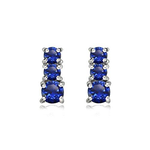 Sterling Silver Created Blue Sapphire Round Graduating Three Stone Stud Earrings (Graduated Sapphire Pendant Blue)
