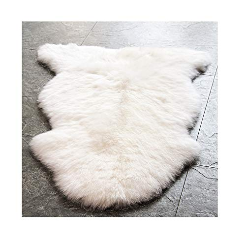 Sheepskin Wool Rug Throw - WaySoft Genuine New Zealand Sheepskin Rug, Luxuxry Fur Rug for Bedroom, Fluffy Rug for Living Room (Single Pelt, Natural)