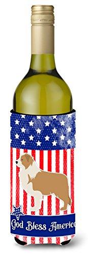 Caroline's Treasures USA Patriotic Red Border Collie Wine Bottle Beverage Insulator Hugger, 750 ml, Multicolor