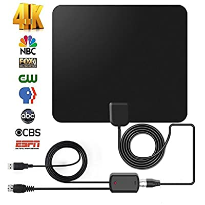 Amplified 50Miles Indoor HDTV Antenna - AatalTV Upgraded Digital TV Antenna with Detachable Amplifier Signal Booster for 1080P Free Channels VHF UHF High Reception Long Range 9.8FT Coax Cable