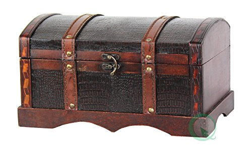 Vintiquewise(TM) Leather Wooden Chest/Trunk (Wicker Treasure Chest)