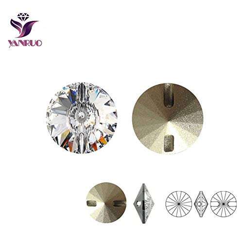 Maslin Crystal Clear Rhinestone Sewing Buttons 16mm,18mm,27mm Rivoli Sew On Rhinestones Button for Clothes Craft DIY - (Color: White, Size: Crystal 16mm 18pcs)