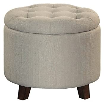 Homelegance Round Storage Accent Ottoman with Button-Tufted Beige  sc 1 st  Amazon.com & Amazon.com: Belleze Nailhead Round Tufted Storage Ottoman Large ... islam-shia.org