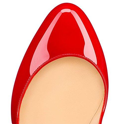 Rotonda Da Sera Alti Dimensioni Pompe Donne Tacchi Della 14 Di Piattaforma Joogo Stiletto Scarpe Punta Rosso qw1vpX4