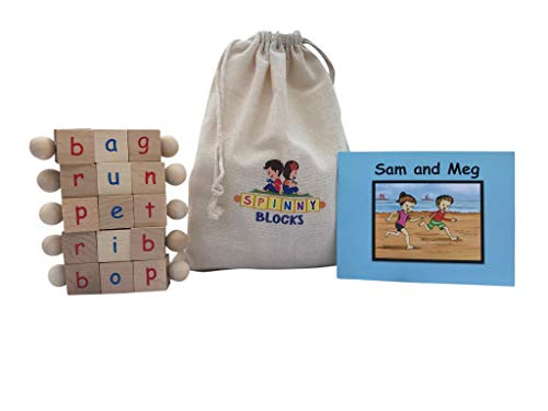 (Montessori Phonetic Letter Blocks for Reading and Early Learning (5-Piece Set) English Educational Toys for Boys & Girls | Beginning Reader Language Phonics | Ages 3+)