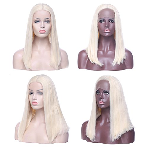 613 Bleach Blonde Short Bob Lace Front Wig Synthetic Glueless Straight Middle Part Shoulder Length 14'' / 14inch Replacement Hair Wigs Deep Invisible with Natural Hairline ()