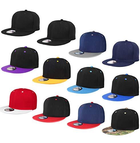 Falari Wholesale 12 Pack Snapback Hat Cap Hip Hop Style Flat Bill Blank Solid Color Adjustable Size G212-Assorted2 ()