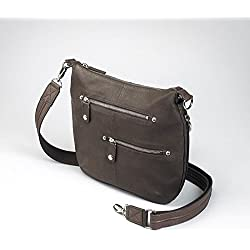 GTM Gun Tote'n Mamas Concealed Carry Chrome Zip Handbag, Brown, Small
