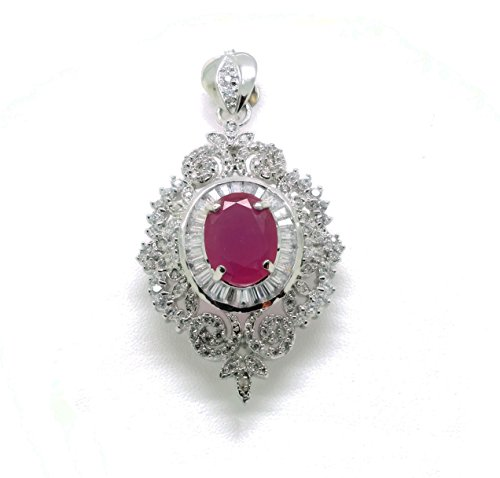 Ruby Brooch Pendant - Ruby Pendant and Brooches & Pin 18k 22k 24k Thai Baht Yellow Gold Plated Cubic Zirconia Stones Jewelry