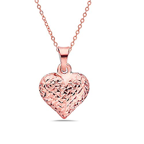Pori Jewelers 14K Solid Gold Heart Pendant Necklaces- in Real 14K Gold 16