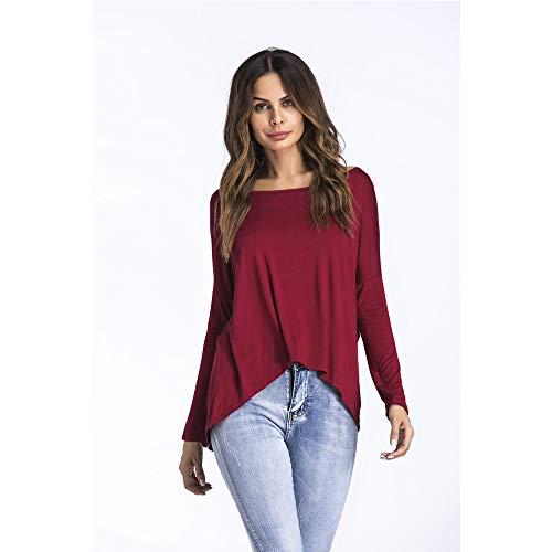 Da T A Autunno Lunghe Shirt Casual Top Rosso Bozevon Donna Girocollo Maniche Sciolto OwRnqvHY