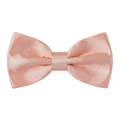 Satin Classic Pre-Tied Bow Tie Formal Solid Tuxedo, by Bow Tie House (Medium, Light Peach)