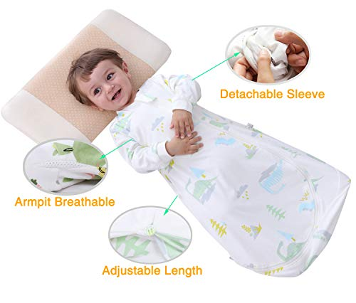 Dinosaur Toddler Wearable Blanket, Soft Cotton Adjustable Length and Detachable Sleeve Kids Sleeping Sack For Toddler(XL,3T-4T)