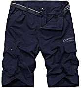 Mens Shorts Casual Expandable Waist,Outdoor Lightweight Quick Dry Hiking Golf Cargo Fishing Shorts