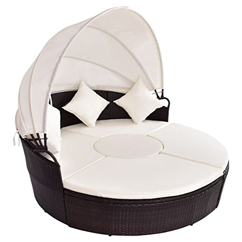 Tangkula Round Patio Bed Wicker Outdoor Cushioned Sofa Daybed with Canopy (Round Outdoor Day Bed)