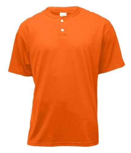 Soffe Men's 2-Button Placket Henley , Orange , (Soffe Henley)