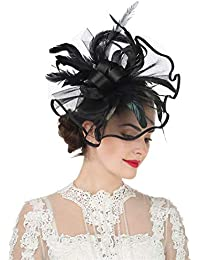 a2a27ed10c884 Women Girl Fascinators Hair Clip Hairpin Hat Feather Cocktail Wedding Tea  Party Hat